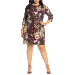 VINCE CAMUTO Sequined Wine Floral Shift Dress
